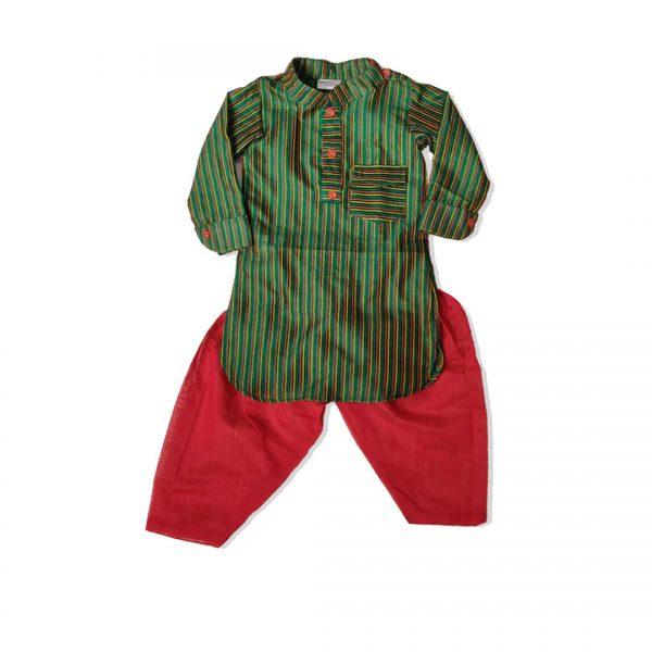 Green Red Pathani chanderi set