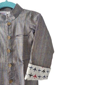 Kids Grey Linen Cotton shirt with contrast cuff