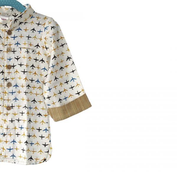 Kids Shirt White | Yellow Aeroplane Cotton Linen Shirt