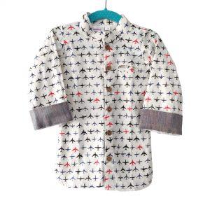 White | Grey Aeroplane shirt Linen