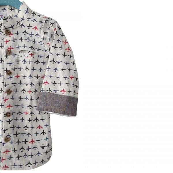kids shirt White | Grey Cotton Linen Aeroplane shirt
