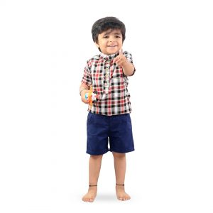 Kids Red Checks Soft Linen Cotton Shirt