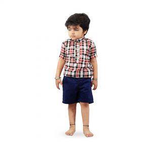 Kids Red Checks Soft Linen Cotton Shirt