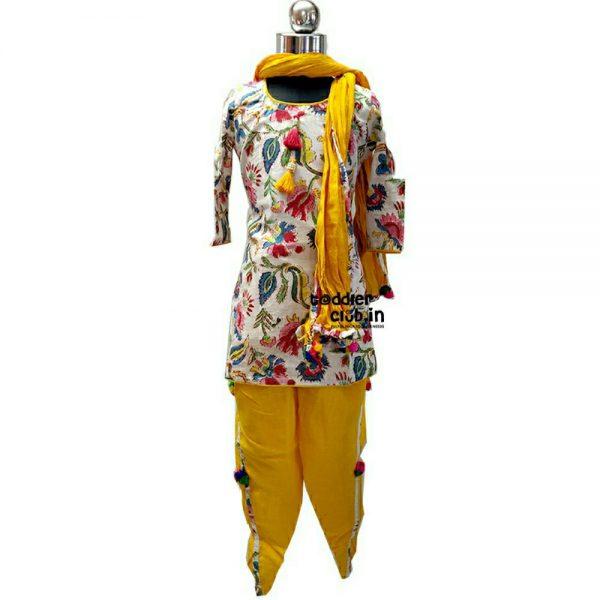 White Kurta | Yellow Tulip Salwar suit
