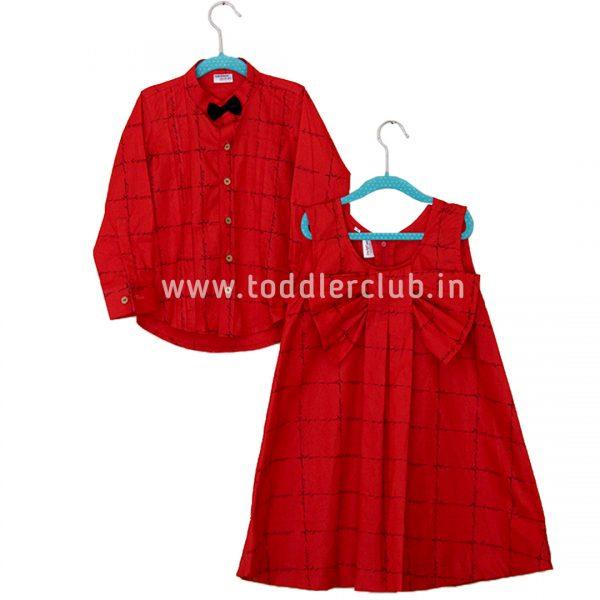 red checks shirt frock